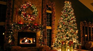 decorations-cool-dim-light-as-fireplace-mantel-with-amazing-christmas-tree-and-floral-curtain-windows-mantel-decorations-for-christmas