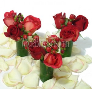 mini wedding centerpiece red roses 121713 300x291 Engagement Party with Wholesale Flowers