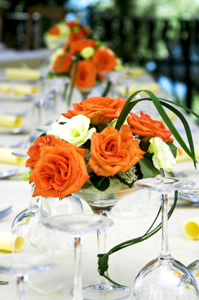 wedding glass orange flowers Bridal Shower With Wholesale Flowers