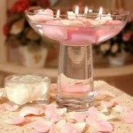 Table Decoration with Pink Rose Petals