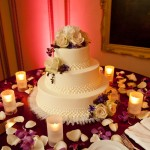 Wedding Cake and Rose Petals