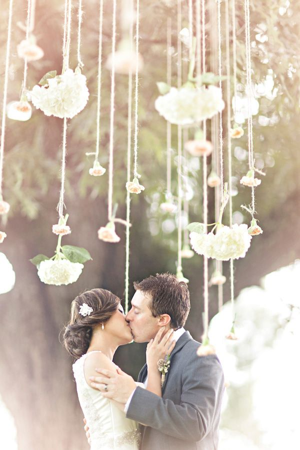 Wedding on a budget Hanging Flowers