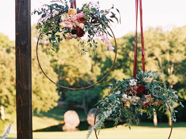Floral hangings on the stage