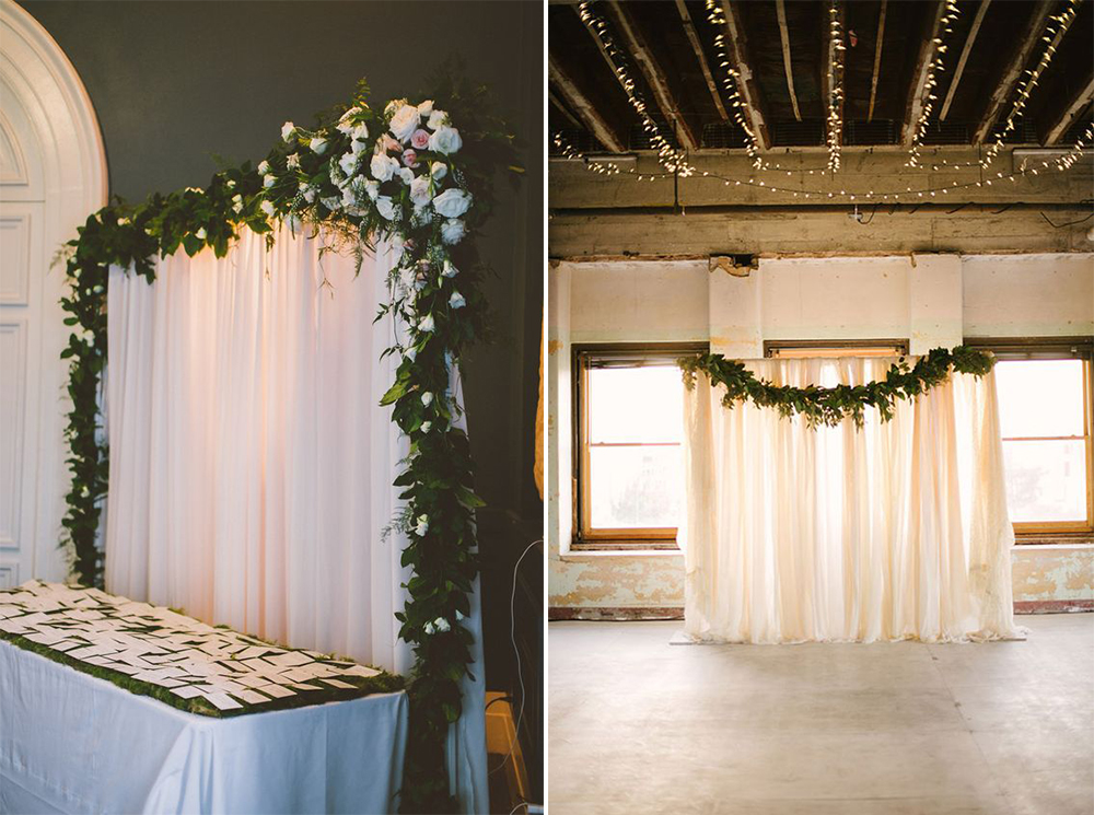 Flowers, drapes and garlands