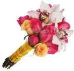 Orange Dark Pink Nosegay Bridal Bouquet
