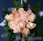Cream Rose & Greens Centerpiece