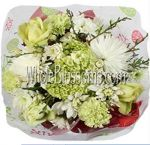 White Mum Green Mini Hydrangea Flower Centerpiece
