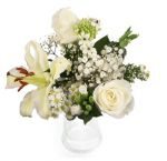 Immaculate White Rose Lily Bouquets