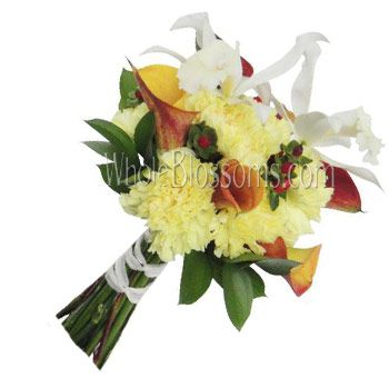 Yellow Carnation Orchid Bridal Bouquet