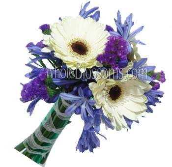 White Blue Gerbera Bridal Bouquets