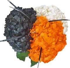 White Hydrangea Bouquet Black Orange