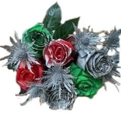 Holiday Jingle Bells Rainbow Roses