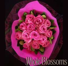 Hot Pink Rose & Greens Centerpiece