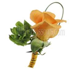 Orange Peach Rose Boutonniere Flower