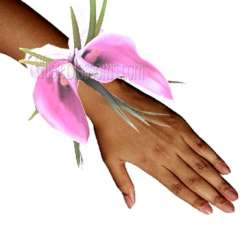 Pink with Purple Cast Mini Calla Wrist Corsage Flower