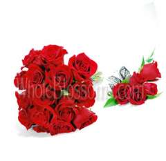 Red Rose Nosegay Wedding Flowers Package
