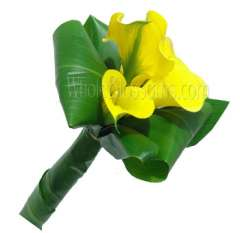 Yellow Posy Mini Calla Bridesmaids Bouquets