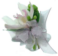 White Cymbidium Orchid Pin Corsage Flower