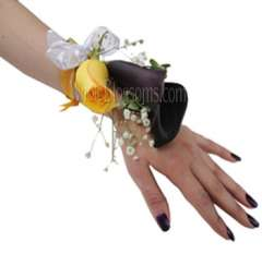 Purple Yellow Wrist Corsage Flower