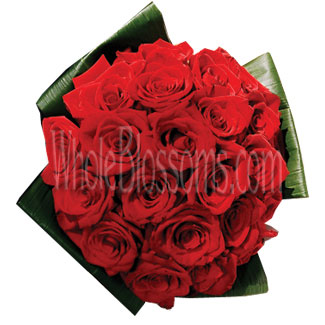 Red Roses and Ti Leaves Wedding Flowers Package