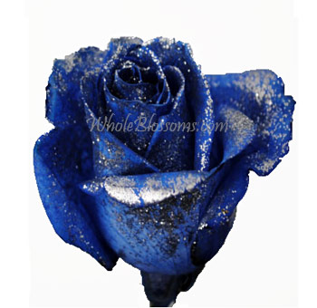 Blue Glitter Rose for Valentine's Day