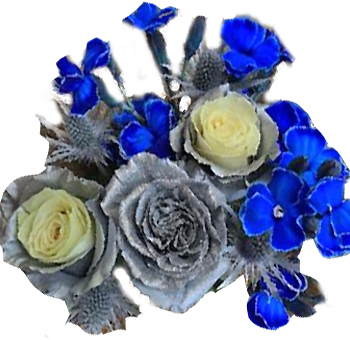 Blue and Silver Hanukkah Flowers