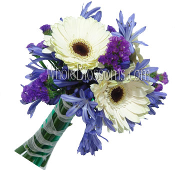 White Blue Posy Gerbera Bridal Bouquet