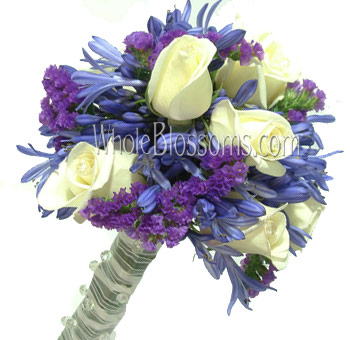 White Blue Nosegay Rose Bridal Bouquet