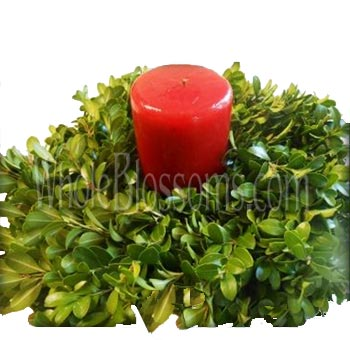 Boxwood Candle Ring Wreath