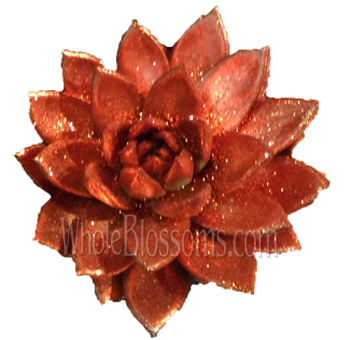 Bronze Paint with Bronze Glitter Succulent Flower