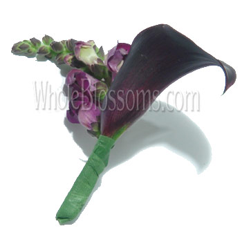 Dark Purple Mini Calla Boutonnieres Flower