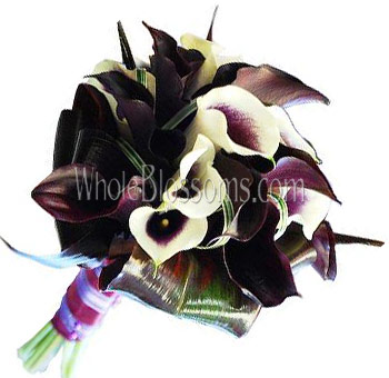 Eggplant Dark Purple Nosegay Mini Calla Bridal Bouquet