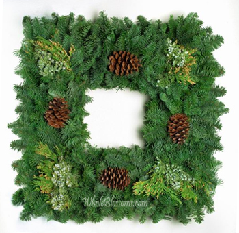 Evergreen Square Wreath and Cones