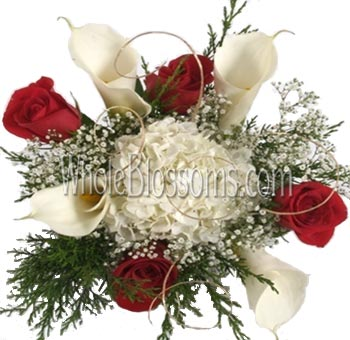 White Calla Lilies and Red Wholesale Roses Centerpiece