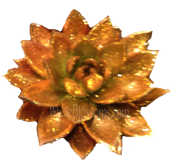 Gold Paint with Gold Glitter Succulent Flower