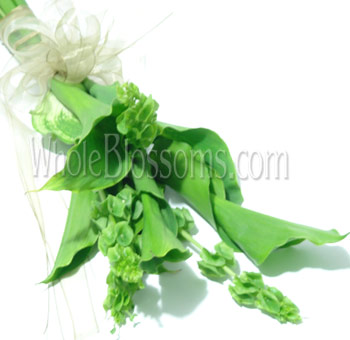 Green Hand-Tied Calla Bridal Bouquet