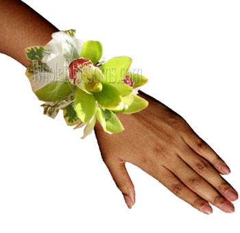 Green Cymbidium Wrist Corsage Flower