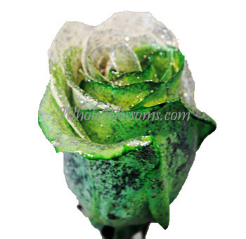 Glitter Green White Rose for Valentine's Day