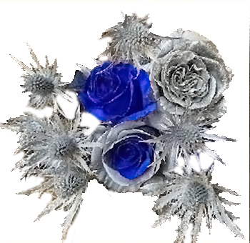 Holiday Memory Thistle and Blue Rose Centerpiece