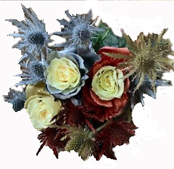 Holiday Season's Greetings Rose Gold and Silver Bouquet