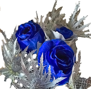 Holiday Thistle and Blue Rose Centerpiece