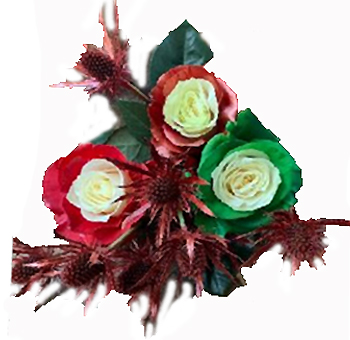 Holiday Warmth Copper Green Red Roses