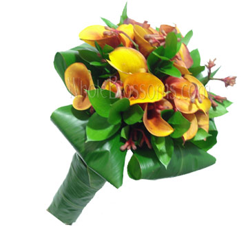 Mango Nosegay Mini Calla Bridal Bouquet