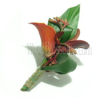 Orange Mango Mini Calla Boutonnieres