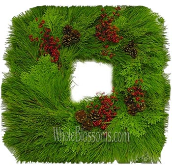 Pine Fresh Cut Mixed Squared Wreaths