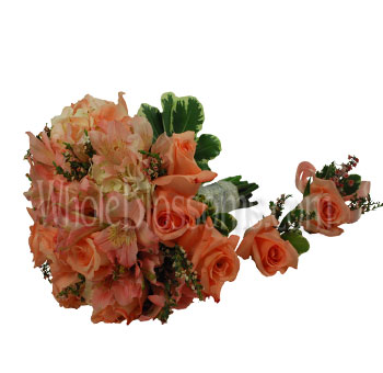 Pinky Peach Rose Wedding Flowers Package