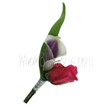 Red Purple Mini Calla Rose Boutonniere Flower
