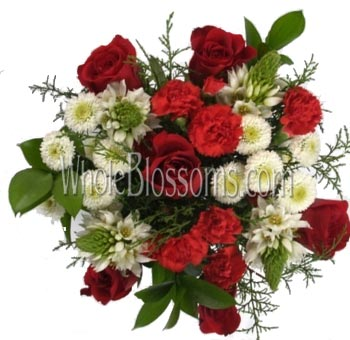 Red Wholesale Roses and Red Mini Carnations Centerpiece