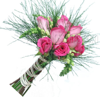 Dark Pink Posy Rose Bridesmaids Bouquets
