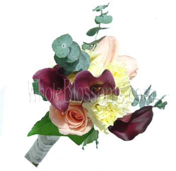 Peach Purple Nosegay Rose Mini Calla Bridesmaids Bouquets